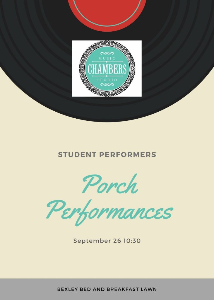 Porch Performance Music Piano Violin Viola Bass Cello Strings Singing Voice Guitar Ukulele Brass Trumpet Euphonium Woodwinds Oboe Flute Saxophone Clarinet Drums Percussion Lessons Classes Teachers Instructors Online Virtual Columbus, OH Bexley, OH