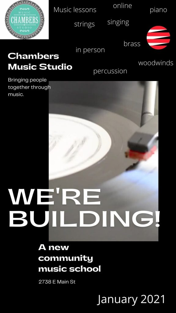 Chambers Music Studio Construction Check this out Music Piano Violin Viola Bass Cello Strings Singing Voice Guitar Ukulele Brass Trumpet Euphonium Woodwinds Oboe Flute Saxophone Clarinet Drums Percussion Lessons Classes Teachers Instructors Online Virtual Columbus, OH Bexley, OH